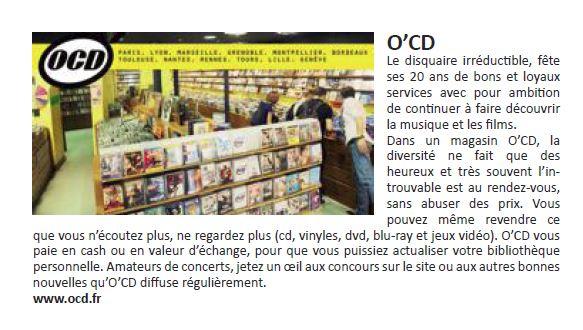 Actualités commerciales Télérama - disquaire O'CD